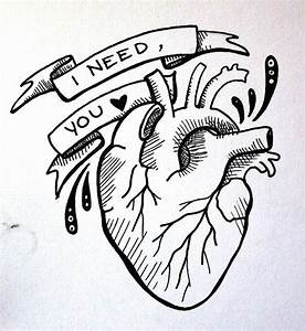 anatomical heart, i need you illustration, tattoo design ...