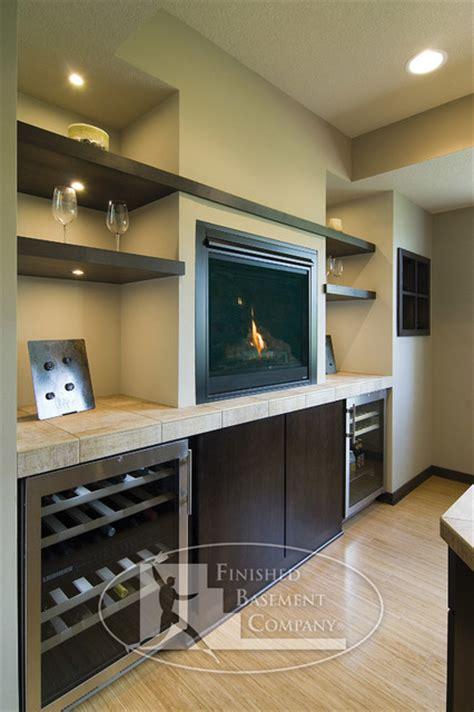 basement bar  fireplace contemporary basement