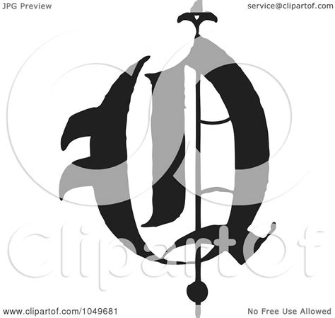 royalty free rf clip illustration of a black and white abc letter q by