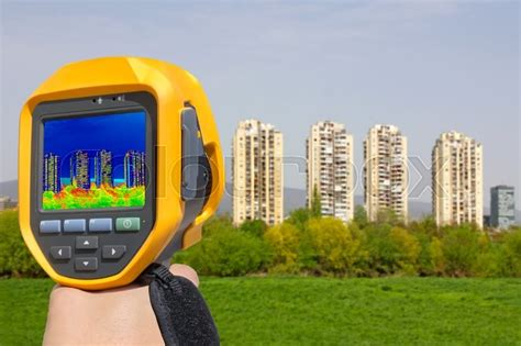 recording heat loss   residential stock photo