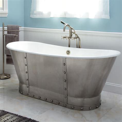 brayden bateau cast iron skirted tub  stainless