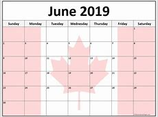 June 2019 Calendar Canada month printable calendar