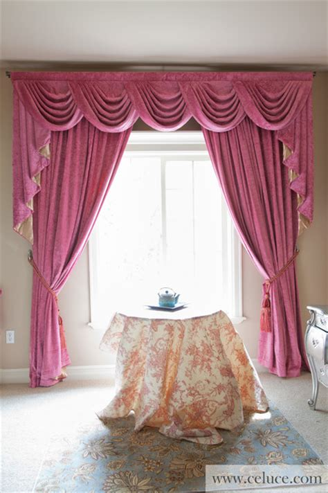 pink chenille swag valance curtain set by celuce