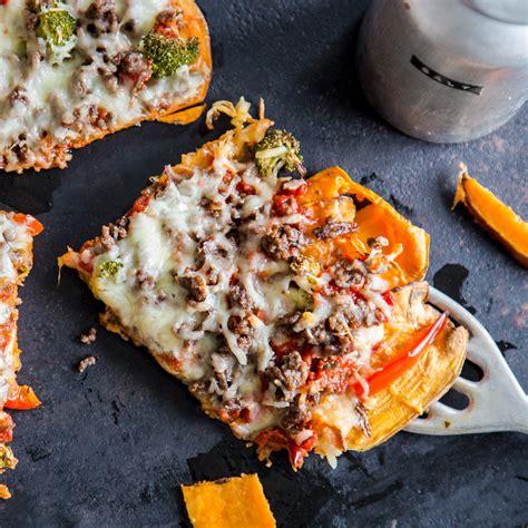 frei von gluten suesskartoffel pizza mit hackfleisch