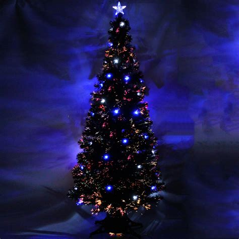 7ft black pre lit colour fibre optic christmas tree blue white led star