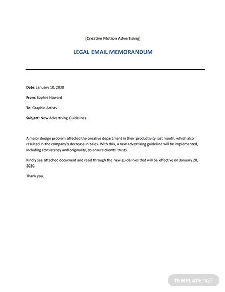 Legal Email Memo Template - Word (DOC)