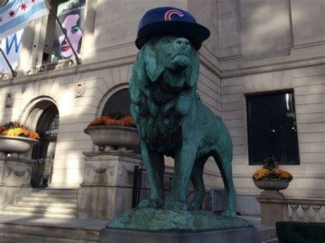 art institute lions finally   wear cubs caps