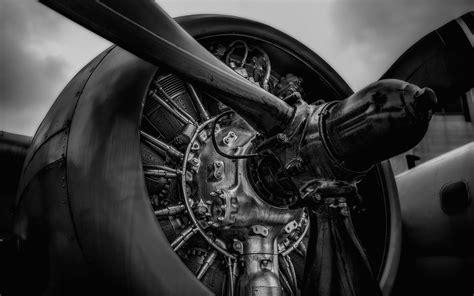 airplane plane engine propeller black white wallpaper   wallpaperup