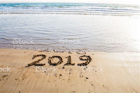 Happy New Year 2019 Text On The Sea Beach Abstract