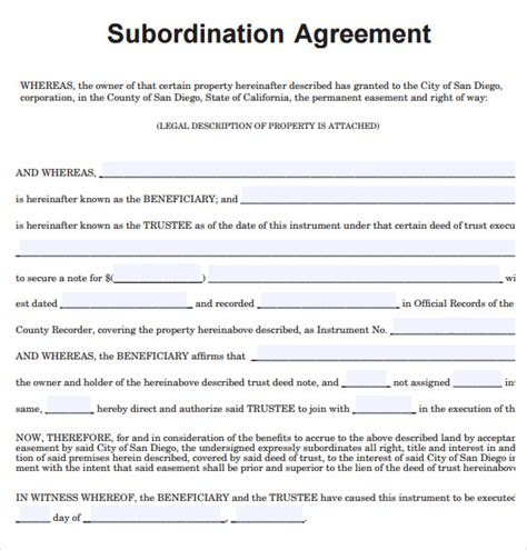 Sample Subordination Agreement – 8+ Example, Format