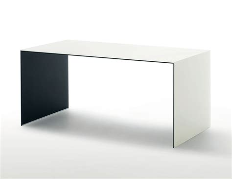 white and glass desk glas italia sio2 bridge contemporary italian desk in white