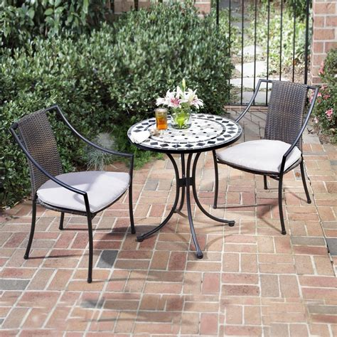 outdoor furniture tables only shop home styles marble 3 piece black gray tile patio