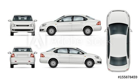 White Car Template For Car Branding And Advertising