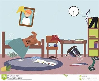 Messy Cartoon Funny Zimmer Vektor Grappige Kinder