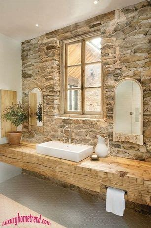 rustic full bathroom   lights standard height