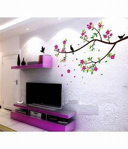 Syga multicolour pvc vinyl floral branch wall sticker buy