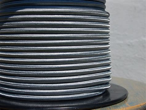 fabric covered l wire factory 10 meters grey 2 core 0 75mm2 textile electrical