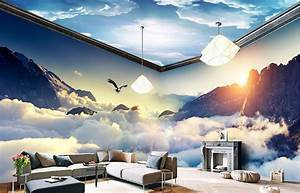 Custom dream clouds and mountains 3D Wallpaper Living room ...