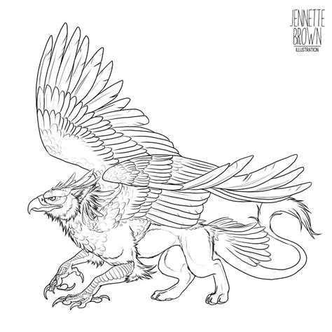 Chimera Template by Griffin Lineart Template Chimera Myth Gryphon Mythical