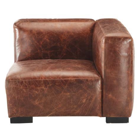 canape cuir droit accoudoir droit de canapé en cuir marron maisons du