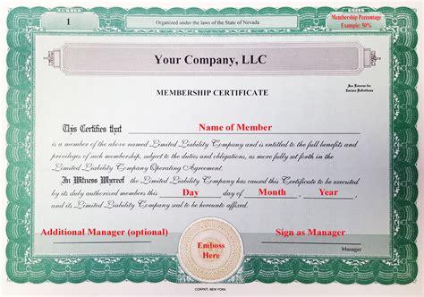 llc membership certificate template laughlin associates inc setting up your corporate kit
