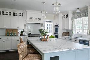 White and blue kitchen transitional kitchen sherry for Kitchen cabinet trends 2018 combined with potterybarn wall art