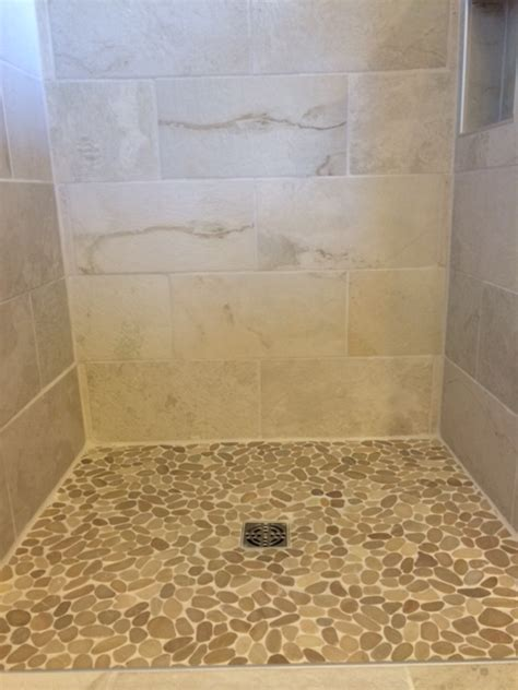 Sliced Java Tan Shower Floor  Pebble Tile Shop