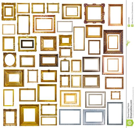 Wand Mit Vielen Bilderrahmen by Many Picture Frames Isolated White Stock Photo