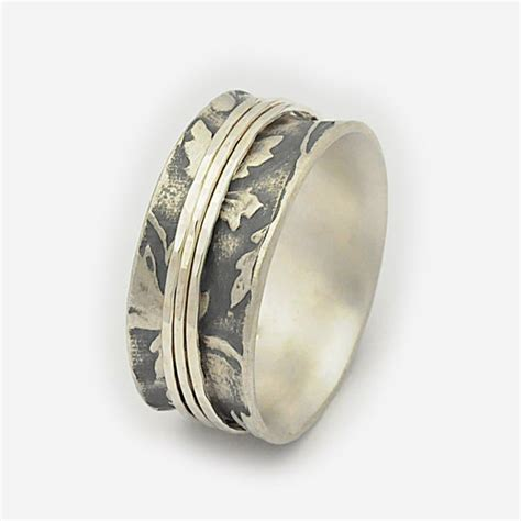 spinning rings for women oxidized base organic leaf design