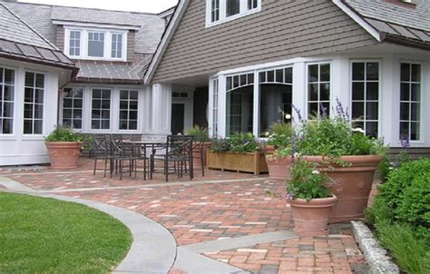 brick patio paver designs with concrete border how to