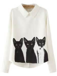 cat blouse lapel with zipper cat print blouse shein sheinside