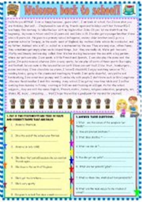 worksheets welcome back to school reading