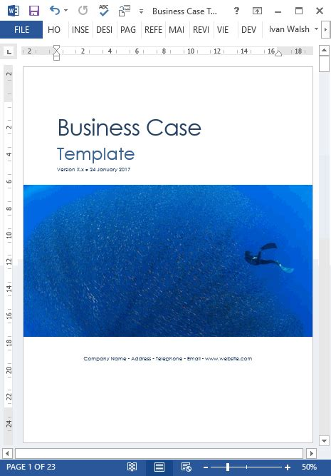 business case template   justify  business