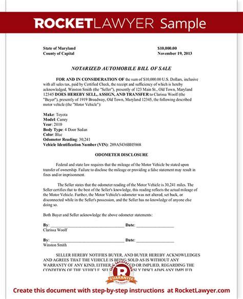 notarized automobile bill  sale form template  sample