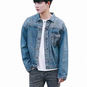 Menu0026#39;s Rugged Wear Denim Jacket Distressed Long Sleeve Vintage Blue Jeans Coats 2017 Fashion ...
