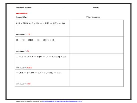 Order Of Operations With Parenthesis  Hard Worksheet For 6th  10th Grade  Lesson Planet