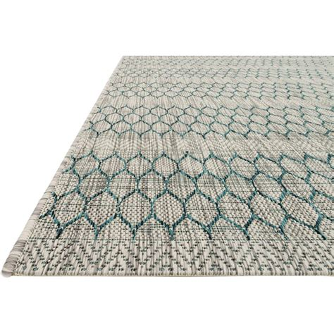 tulum global teal grey pattern outdoor rug 5 3x7 7