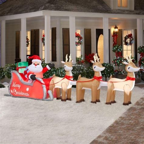 16 ft inflatable lighted santa in sleigh with reindeer christmasshack