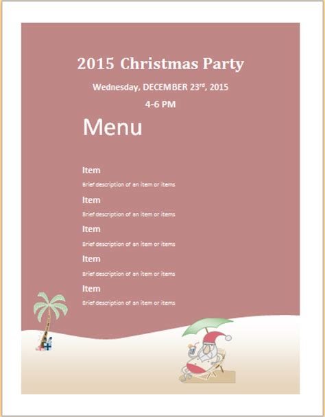 christmas party menu sheet template ms word word excel