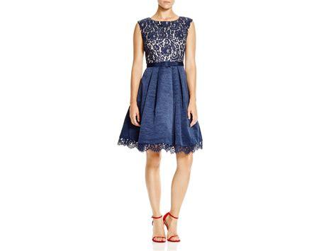Eliza J Lace Bodice & Taffeta Skirt Dress In Blue