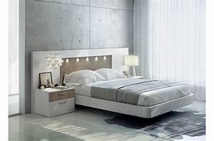 Tete De Lit Moderne : lit moderne 160x200 t te de lit led chevets baix 121 cbc meubles ~ Teatrodelosmanantiales.com Idées de Décoration