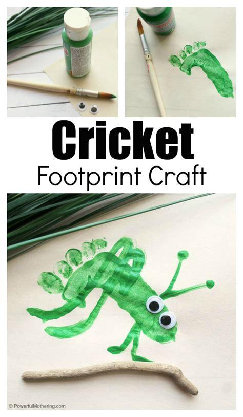footprint preschool cricket craft 776   Preschool cricket craft kids can make with their footprints