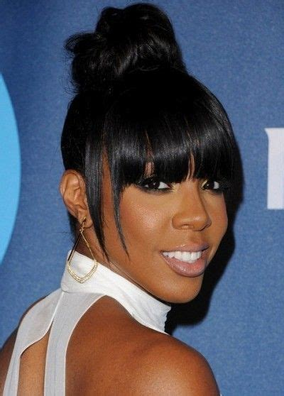 kelly rowland high bun blunt hair  bangs african