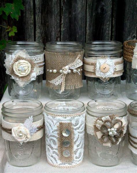 jar deco burlap and lace decorated jars crafts pinterest