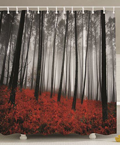 Fabric Shower Curtain Mystic Forest Red Grass Black and Gray Modern Art Flower Rainy Foggy Gray