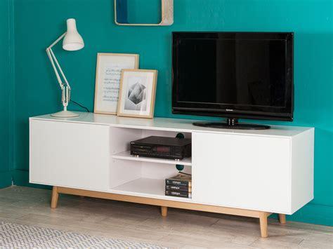 tele cuisine meuble tv 2 portes 2 niches en bois laqué blanc pieds