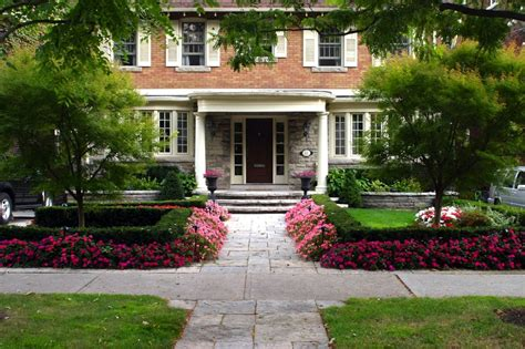 formal front yard landscaping ideas front yard makeover including wiarton square cut flagstone walkway formal symetrical planting