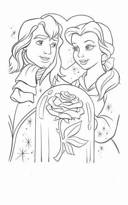 Beast Coloring Beauty Pages Belle Disney Rose