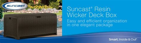 suncast resin 99 gallon deck box dbw9200 suncast dbw9200 mocha resin wicker deck box