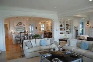 kitchen dining room living room open floor plan kitchen semi open to family room coastal cottage design